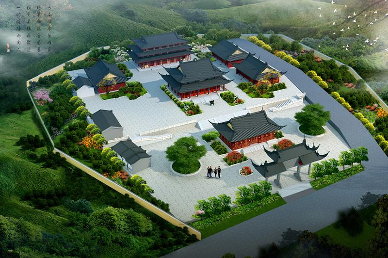 古建筑寺庙鸟瞰图