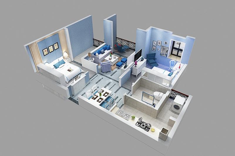 二室二厅立体户型图设计
