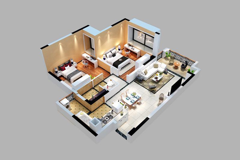 房地产户型立体图