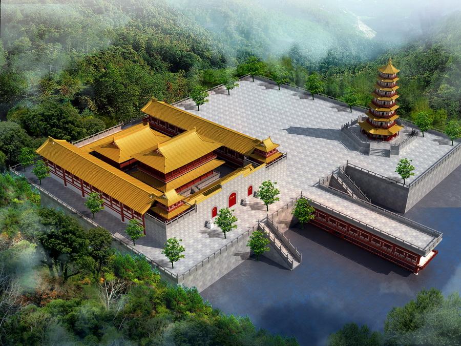 寺庙鸟瞰效果图