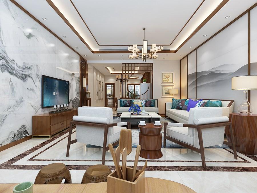 中式客厅3D效果图制作