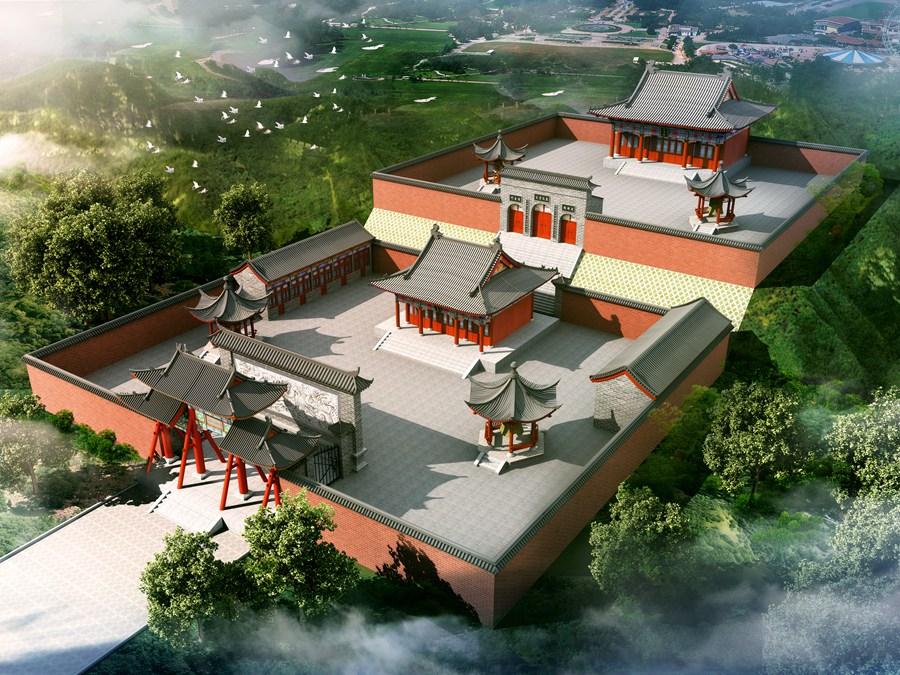 古建寺庙鸟瞰图