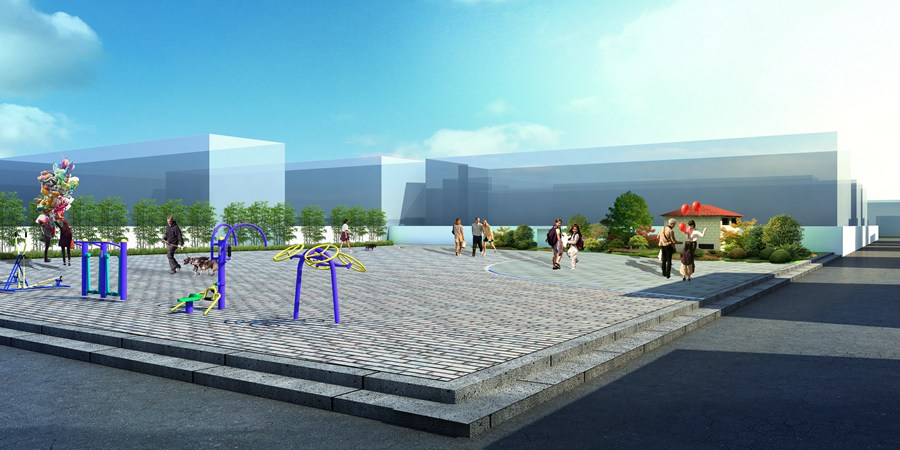健身广场效果图制作