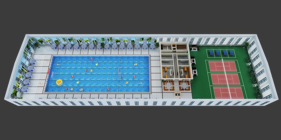 游泳池效果图制作