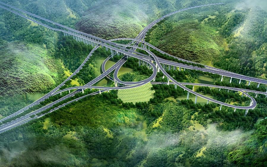 山地立交桥效果图设计