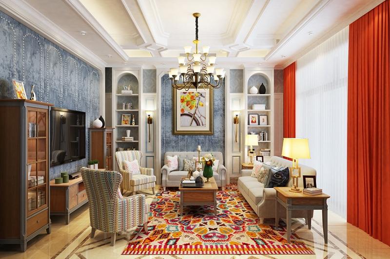 欧式客厅效果图设计