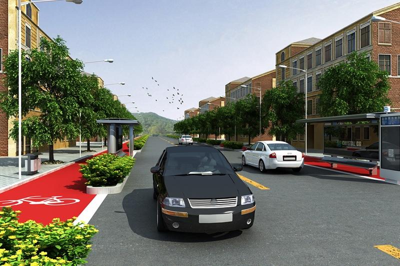 道路绿化透视设计