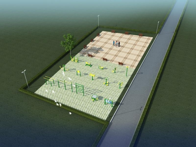 休闲健身广场效果图