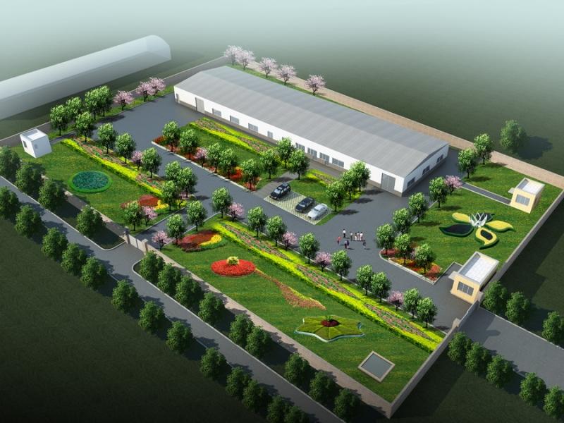 矿泉水厂绿化鸟瞰图