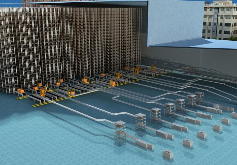 自动化仓储系统效果图
