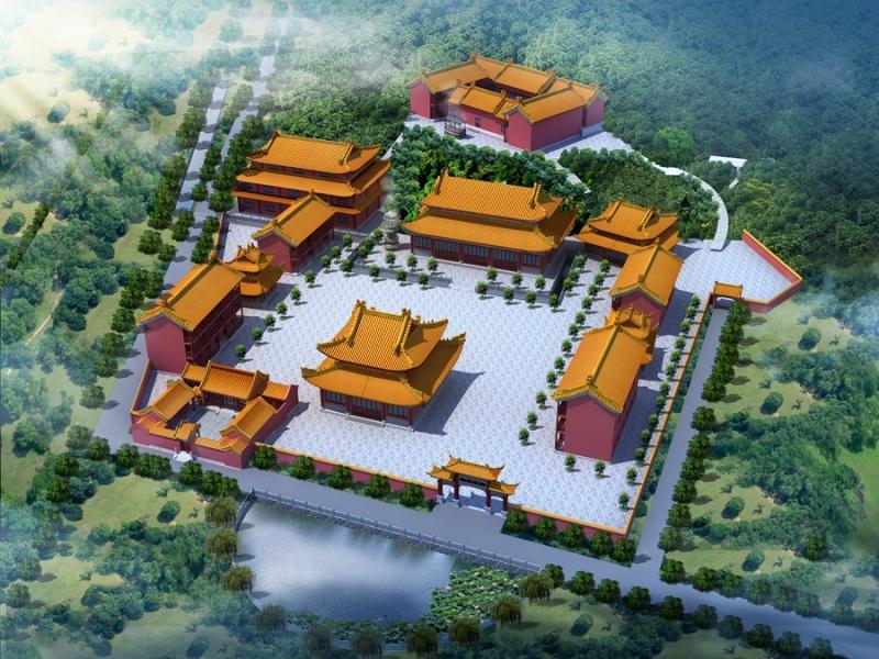 寺庙效果图制作