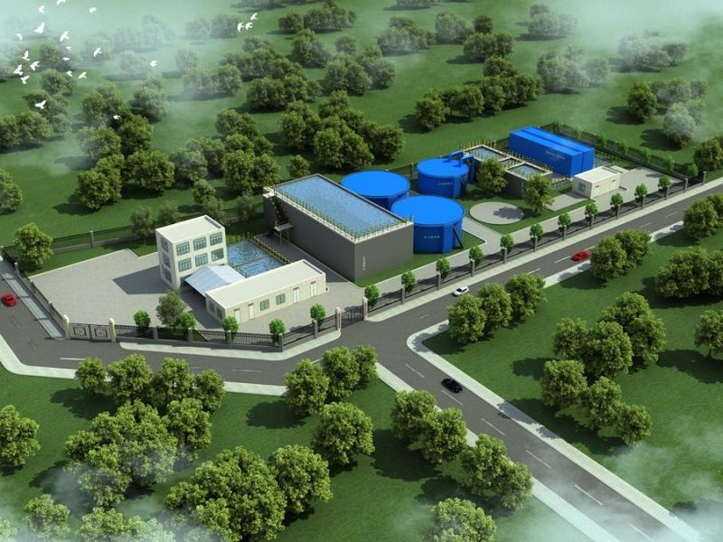 污水厂鸟瞰图设计
