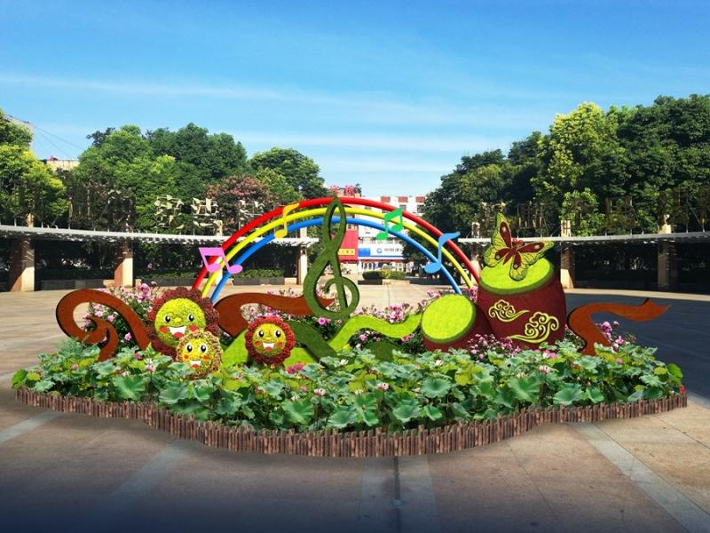 鼓楼广场绿雕设计